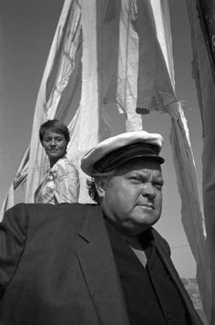Orson Welles on the set of Dead Recknoning, photographed by Nicolas Tikhomiroff, 1967
