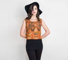 1990s linen blend boxy tank top with ethnic African tribal print