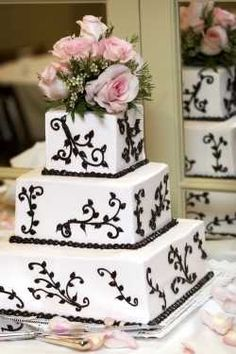 The Black and White wedding theme's coming to life in a whole new way, even in a sea of chocolate brown. What draws couples to this sleek. Square Wedding Cakes, White Wedding Cakes, Beautiful Wedding Cakes, Beautiful Cakes, Dream Wedding, Cake Wedding, Wedding Hair, Wedding Stuff, Wedding Wishes