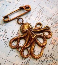 Steampunk Pin Octopus Large Brass Kraken Brooch by...