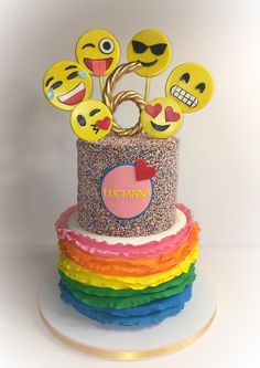 Emoji Sprinkle and Ruffle Birthday Cake