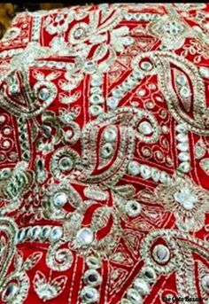 Heavy jaal embroidered fabric perfect for an Anarkai or a lehenga with a plain top