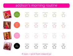 Printable Morning Routine Sticker Chart for toddlers and preschoolers! One for boys and girls. Kid N Play, Toddler Play, Toddler Preschool, Toddler Routine Chart, Sticker Chart, Train Up A Child, School Routines, My Baby Girl, Beautiful Children