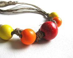 ciclo di perle  collana di lino