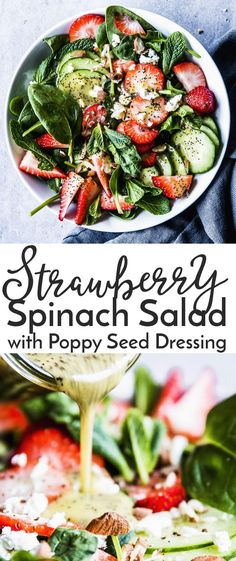 Strawberry Spinach Salad with Poppy Seed Dressing is the perfect spring inspired salad. This is the perfect side dish for Easter, but it��s easy enough for any day of the week. The homemade poppy seed dressing is tangy and refreshing, and you can even make