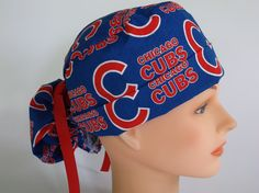Chicago Cubs Ponytail - Womens surgical scrub cap, scrub hat, Nurse surgical cap, F+4270 W by Headlids on Etsy