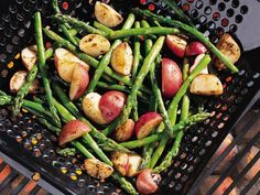Asparagus and Red Potatoes. I just tried making this for my family and they loved it! I didn't use the grill -- I actually used a mix of recipes to make it in the oven (really easy!)