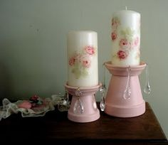 Here are a couple of candle holders that have been repurposed from clay pots. Hope you like them!