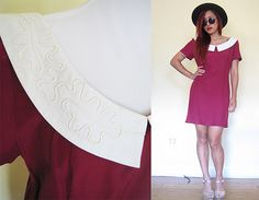 Vintage 80's mod red maroon sailor collar Wednesday by RebelCloset, $49.99