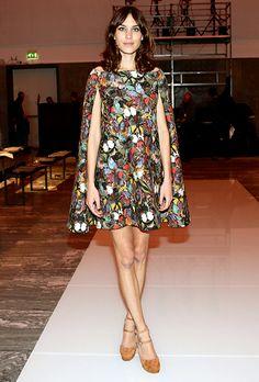 Alexa Chung at Milan Fasion Week 2014 #Valentino #capedress #MFW14
