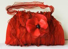Poppy evening bag in silk and organza
