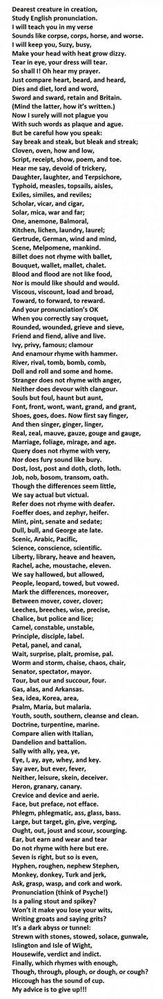 Если вы можете правильно произнести каждое слово в этом стихотворении, вы говорите по-английски лучше, чем 90% носителей английского языка в мире. Убийственное стихотворение на правила чтения от Dr. Gerald Nolst Trenité (1870–1946). Коварная задача для всех уровней владения английским языком, вплоть до С2 и носителей языка.