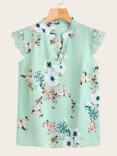To find out about the Contrast Lace Floral Print Blouse at SHEIN, part of our latest Blouses ready to shop online today! Floral Blouse, Printed Blouse, Floral Tops, Floral Prints, Fashion News, Boho Fashion, Fashion Dresses, Punk Fashion, Lolita Fashion