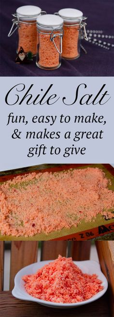 How will you use your Homemade Chile Salt? You could rim the glass of a bloody Mary or a margarita. Sprinkle it over corn on the cob. On avocados for a simple quick guacamole. Simply on chicken, steak, shrimp, or tofu. So many ways to spice up your life!