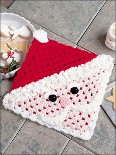 Crochet - Christmas Patterns - Santa Hot Mat