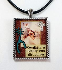 Custom Cowgirl With Dirt on Her Picture Pendant Western  CROSS Bronc Holly Ann #Handmade #Pendant