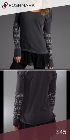 Free People Claire's BFF Thermal Sweater Free people snowflake design and peplum mesh bottom sweater thermal in small. I've been after this piece a long time and it just doesn't go with my body type Free People Tops Tees - Long Sleeve