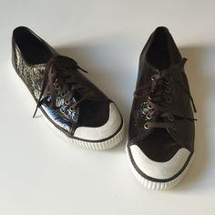 Tretorn Tournament patent leather sneakers brown patent leather sneakers new with out Tags size 8.5 Tretorn Shoes Sneakers