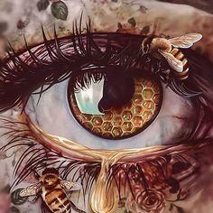 Other Perspectives by Elena Masci - - Fantasy Art - Fantasy Kunst, Fantasy Art, Honey Bee Tattoo, Eyes Artwork, Tatoo Henna, Eye Painting, Bee Art, Art Drawings Sketches, Art Sketchbook
