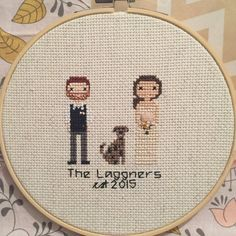 This custom cross stitched family portrait is the perfect way to capture your family, friends, or pets in a unique and beautiful fashion. These handmade family portraits make the perfect gift for weddings, new parents, or gift for a cherished family member. Each portrait is made with love, attention to detail, and in keeping with your specific requests. This is a gift that your loved ones will hold dear forever, and may even end up being a family heirloom. This listing is for a custom cross…