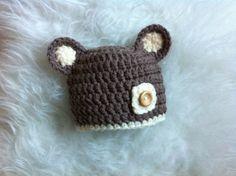 Bär braun häkeln Hut Foto Prop 3-6 m von My baby photo props  auf DaWanda.com