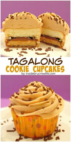 These cupcakes have a hidden girl scout cookie in the bottom and THE best peanut butter frosting on top! Tag Along Cookie Cupcakes. Cupcake Recipes, Cookie Recipes, Dessert Recipes, Yummy Cupcakes, Cupcake Cookies, Gs Cookies, Bear Cupcakes, Just Desserts, Delicious Desserts