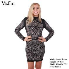 Women Ladies Pattern Turtleneck Long Sleeve Stone Slim Tight Party Dress Bodycon