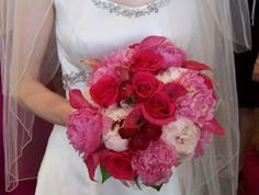 Red Rose & Pink Wedding Flower Bouquet