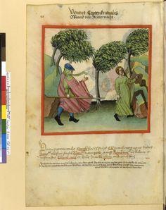 Tacuinum Sanitatis - BNF Ms. Latin 9333 Date: Rhineland, mid- 15th century.  fol 56v Wind von Mitternacht (Nordwind)
