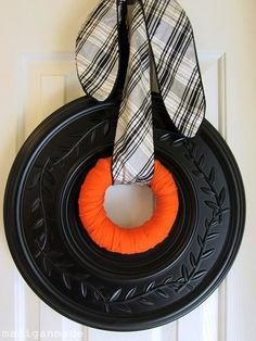 Make a holiday wreath out of a ceiling medallion | Offbeat Home