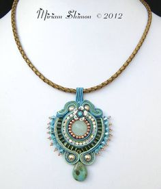 Turquoise Green Mint and Cream Soutache pendant on by MiriamShimon