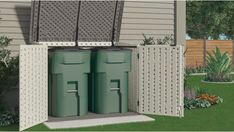 Horizontal Plastic Storage Shed - The Stow-Away. The Stow-Away regards a horizontal plastic storage shed. Low maintenance, easy to clean, sits in confined spaces. Extremely Popular with Exceptional Feedback: Plastic Storage Sheds, Garbage Storage, Storage Shed Plans, Storage Ideas, Suncast Sheds, Garbage Can Shed, Outdoor Bike Storage, Big Sheds, Steel Sheds