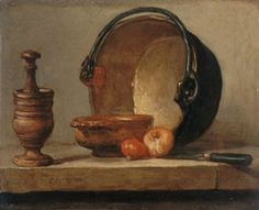 Learn more about Still Life with Pestle, Bowl, Copper Cauldron, Onions and a Knife Jean-Baptiste-Simeon Chardin - oil artwork, painted by one of the most celebrated masters in the history of art. Baroque Painting, Paul Cezanne, Hyperrealism, Painting Still Life, Old Paintings, Old Master, French Artists, Art Reproductions, Painting & Drawing
