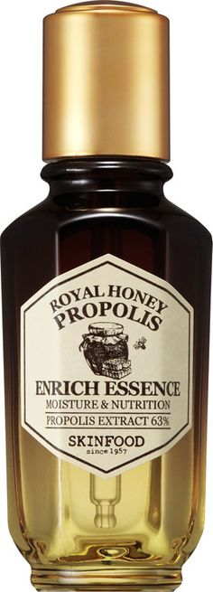 SKINFOOD's Royal Honey Propolis Enrich Essence is a fully nutritious essence that contains black bee propolis extract, royal jelly extract, and black honey extract to build a firm barrier for radiant and moist skin. Black Bee, Black Honey, Bee Propolis, Royal Jelly, Skin Food, Bee Keeping, Makeup Cosmetics, Health And Beauty, Moisturizer