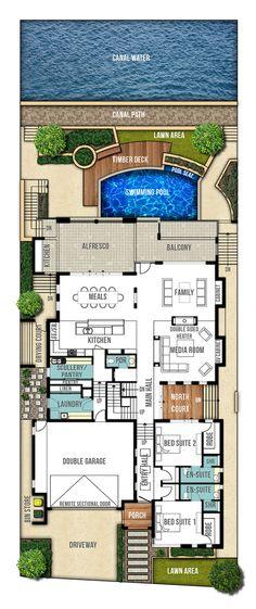 Reef Undercroft Home Design Plans - Ground Floor Plan Contemporary House Plans, Modern House Plans, Dream House Plans, House Floor Plans, Ground Floor Plan, House Blueprints, Sims House, Home Design Plans, Architecture Plan