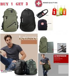 NEWLY LISTED Wenger Genuine Swiss Army Knife Men Backpack 15-17''Laptop Bag Sport School Bag