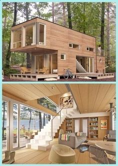 Shipping Container Cabin, Shipping Container Home Designs, Cargo Container Homes, Building A Container Home, Storage Container Homes, Container House Plans, Container Houses, Container Gardening, Sea Containers