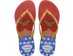 <p>The Wonder Woman offers the ultimate expression of girl power with bold prints inspired by the iconic super hero on our signature textured footbed. A star embellishment and contrast Havaianas logo appear on the strap.</p><ul><li>Thong style</li><li>Cushioned footbed with textured rice pattern and rubber flip flop sole</li><li>Made in Brazil</li></ul>