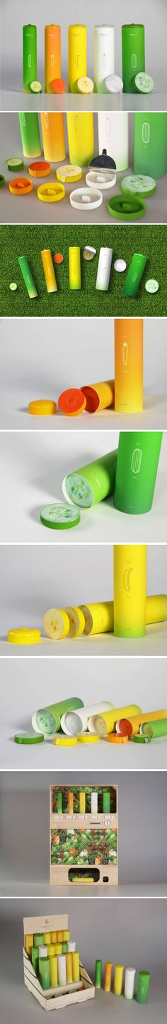 Packaging system for conventional condoms. They come in five colorful cylinder packages, each of a distinct diameter inspired by a fruit or a vegetable like a Banana or cucumber, representative to their phallic counterpart.
