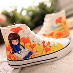 Sweet Lace-up Hand-painted Canvas Shoes
