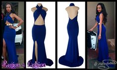 Royal blue sexy matric dance dress with an open back. Open tummy and a crossed bust creating a halter neck effect Matric Farewell Dresses, Matric Dance Dresses, Ball Dresses, Prom Dresses, Formal Dresses, Prom Dance, Halter Neck, Dress Making, Royal Blue