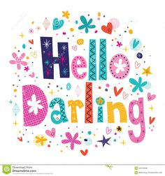 hello-darling-decorative-lettering-text-44419409.jpg (1300×1390)