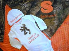 Baby Boy Gift Set - Personalized Onesie, Hat  and Blanket - RealTree Camo  on Etsy, $68.00