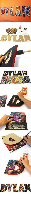 How To Make Comic Book Letters Wood Comic Book Letters Superhero Room, Superhero Letters, Book Letters, Diy Letters, Wooden Letters, Creation Deco, Ideias Diy, Kids Bedroom, Bedroom Ideas