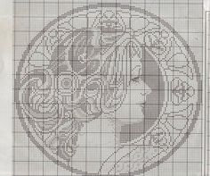 Lady silhouette x-stitch Crochet Cross, Crochet Chart, Filet Crochet, Cross Stitching, Cross Stitch Embroidery, Blackwork Cross Stitch, Cross Stitch Designs, Cross Stitch Patterns, Cross Stitch Silhouette