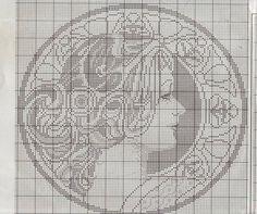 Borduurpatroon Kruissteek Mucha *Embroidery Cross Stitch Pattern