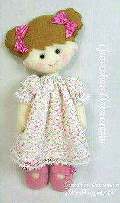Lovely felt girl in night gown