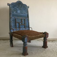 (Sold) Rare tribal pida (piddi) chairs. These stunners are connected to the hybrid furniture tradition that came about at a very interesting point in Indian history when the Rajasthani and Moghul influences converged in almost all forms of art. Pida chairs were traditional low-seaters used at weddings, informal meetings and poojas. In this particular pair of pidas, the back support is ornately hand-carved with folksy floral motifs and reinforced with metal bands as characteristic to them. The se Furniture Ideas, Outdoor Furniture, Outdoor Decor, Guest Bedroom Home Office, Traditional Chairs, Metal Bands, Floral Motif, Art Forms, Short Stories