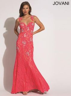 Jovani Prom - 89408 Sleeveless floor length lace gown featuring sheer panels and rhinestones in watermelon and ivory at Estelle's Dressy Dresses! #estellesdressydresses #jovani #prom2014 #ipaprom