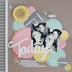SCT Delivered Sunny Days Kit Scrapbook Layout by Lisa Dickinson. Circle Scrapbook, Kit Scrapbook, Scrapbook Layout Sketches, Scrapbook Designs, Scrapbook Paper Crafts, Scrapbooking Layouts, Kids Scrapbook Ideas, Bridal Shower Scrapbook, Wedding Scrapbook